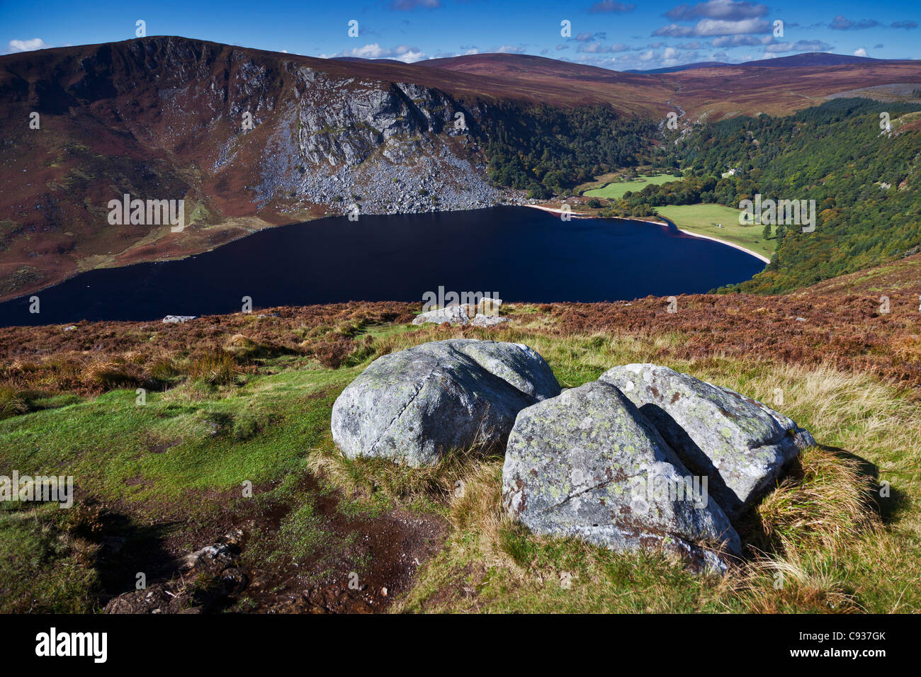 Ireland, Co. Wicklow, Luggala, Lough Tay, view looking towards, Luggala Mountain, the Luggala Estate and Sally Gap. - Stock Image