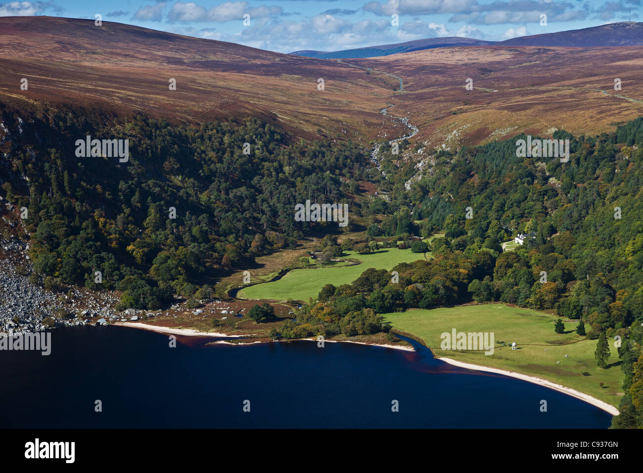 Ireland, Co. Wicklow, Luggala, Lough Tay, view looking towards the Luggala Estate and Sally Gap. - Stock Image