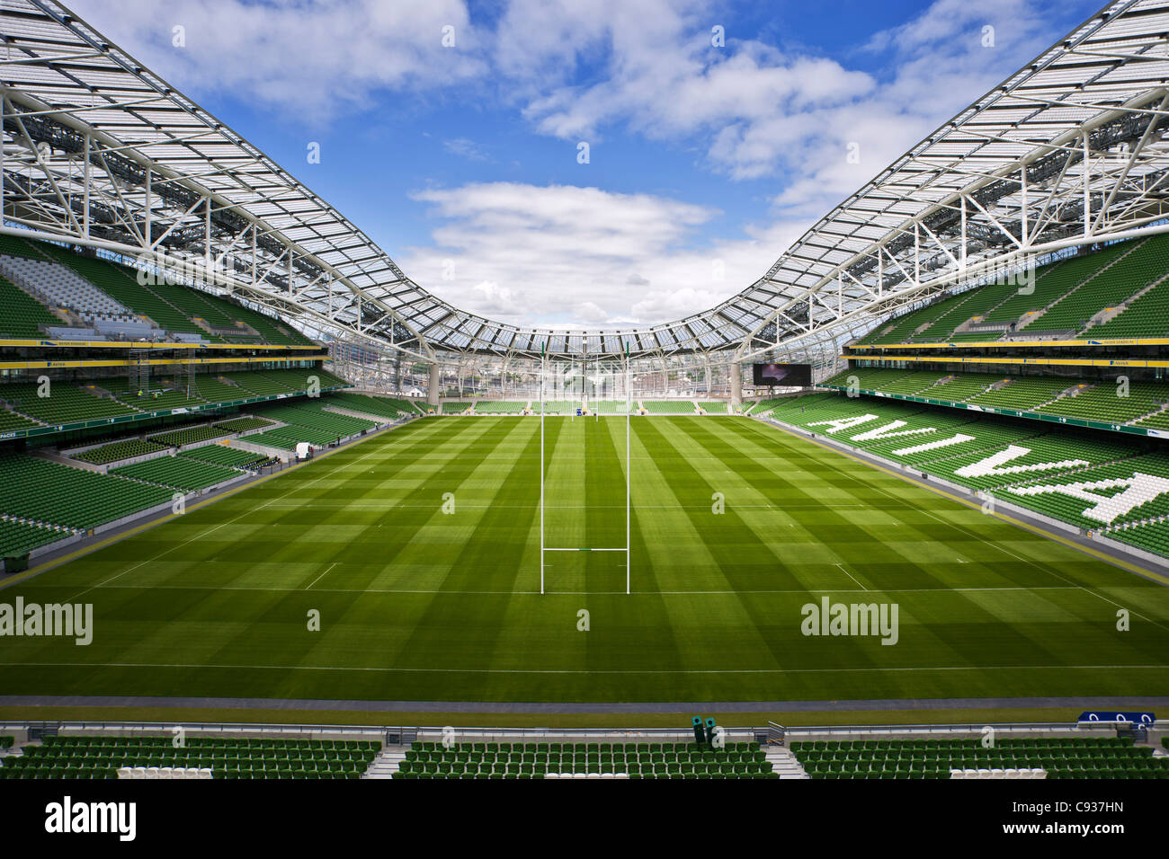 Ireland, Dublin, Lansdowne Road Football stadium, interior panoramic view looking from the south end of the stadium. - Stock Image