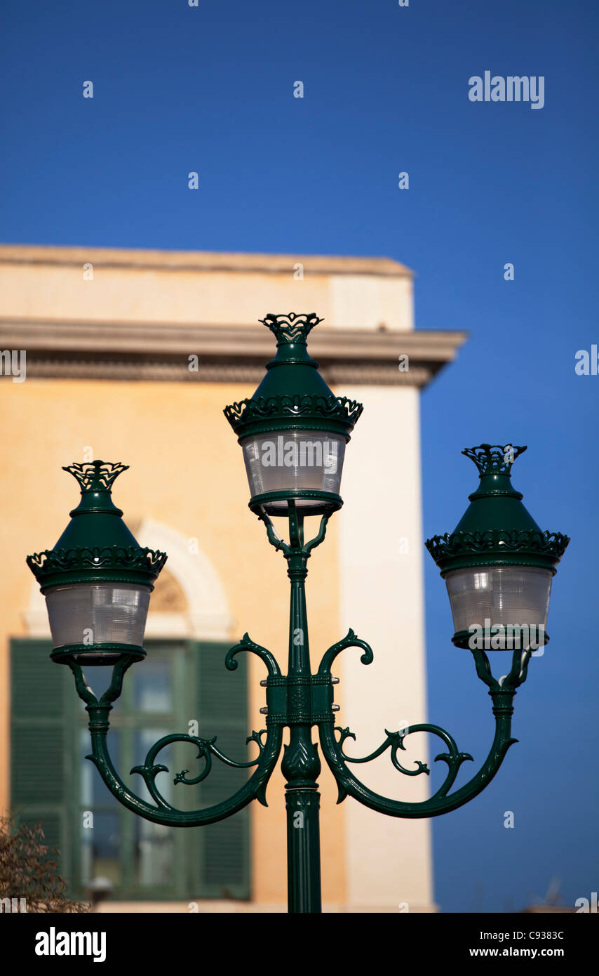 Sicily, Italy, Western Europe; Lamp post in the Trapani's historical core - Stock Image