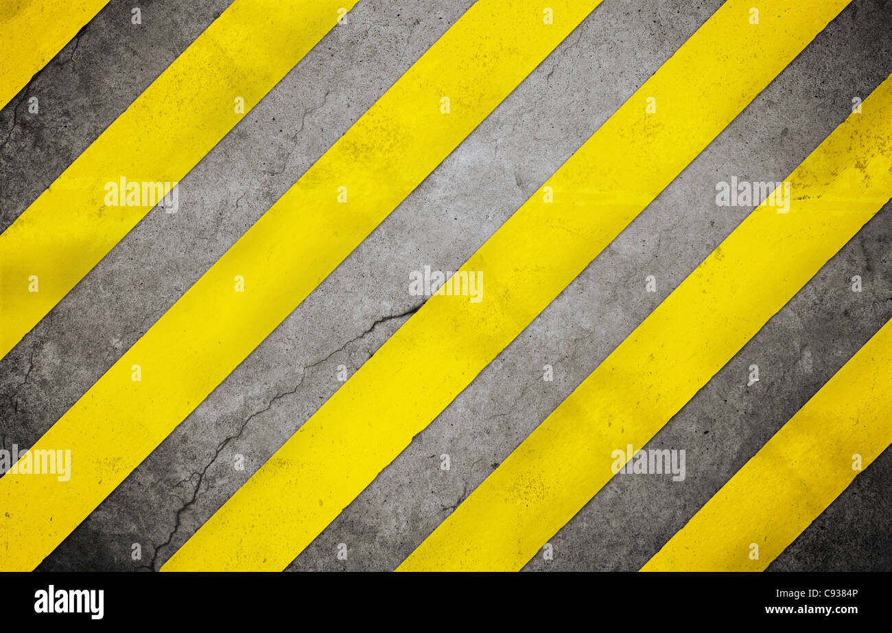 construction  background with yellow lines - Stock Image