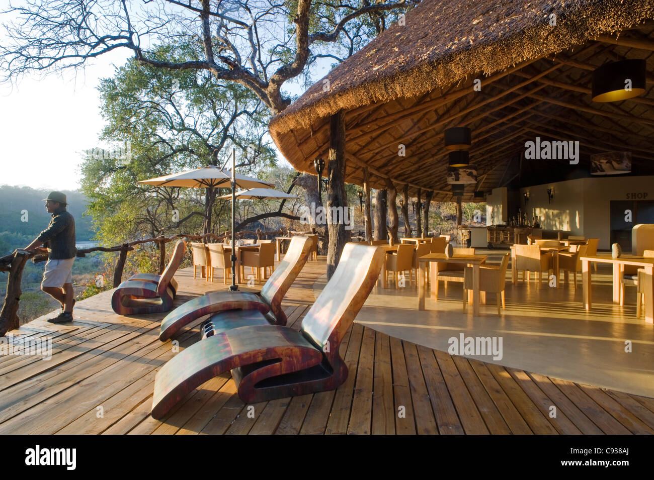 Malawi, Majete Wildlife Reserve. The deck and main dining area of  Mkulumadzi safari lodge - Stock Image