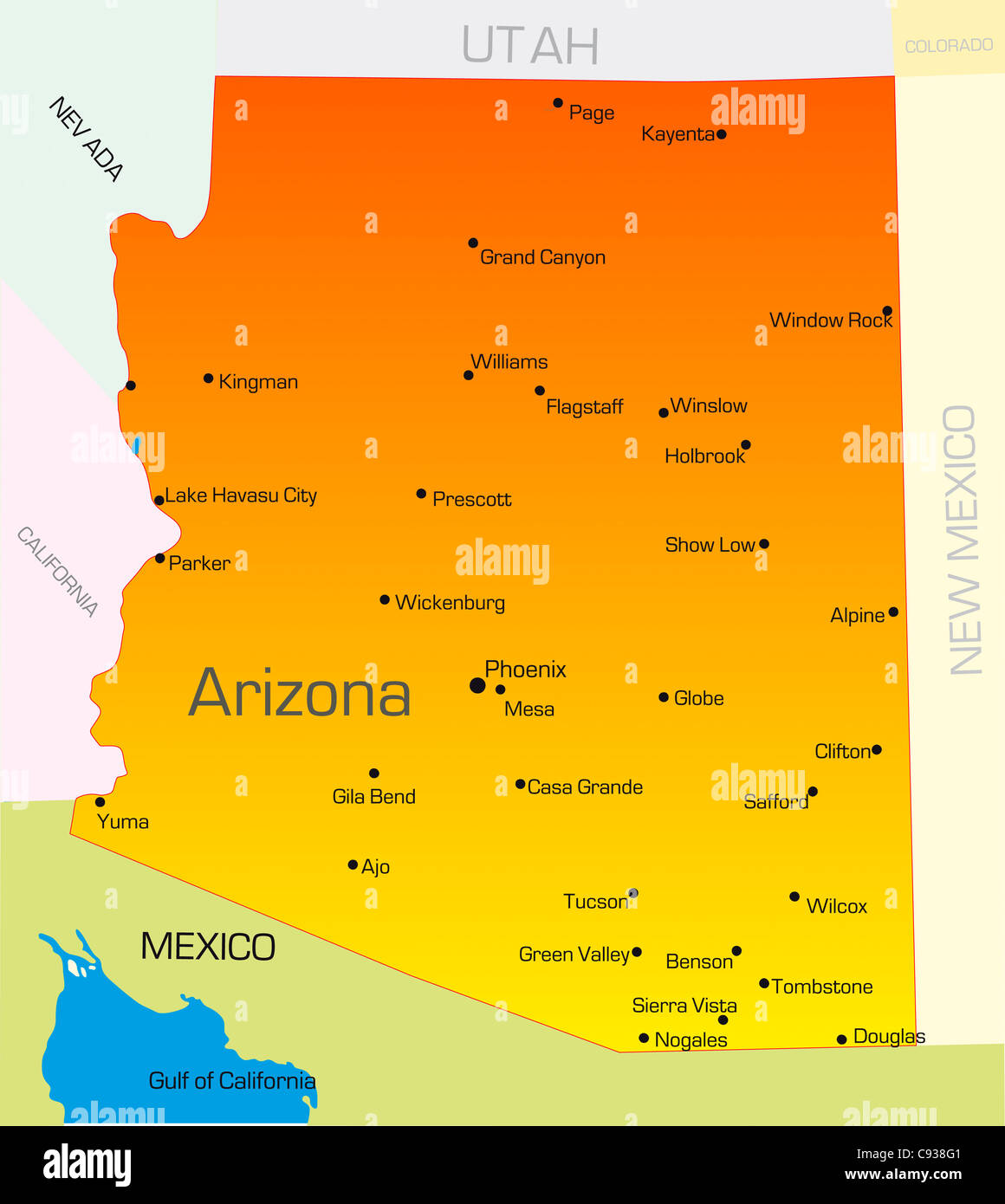Map Of Usa Arizona.Vector Color Map Of Arizona State Usa Stock Photo 40025217 Alamy