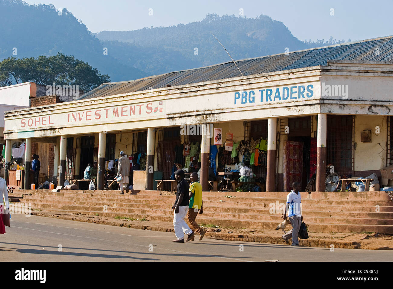 Malawi.  Zomba.  Painted shop fronts advertise their wares in the town of Zomba, once capital of Malawi. - Stock Image
