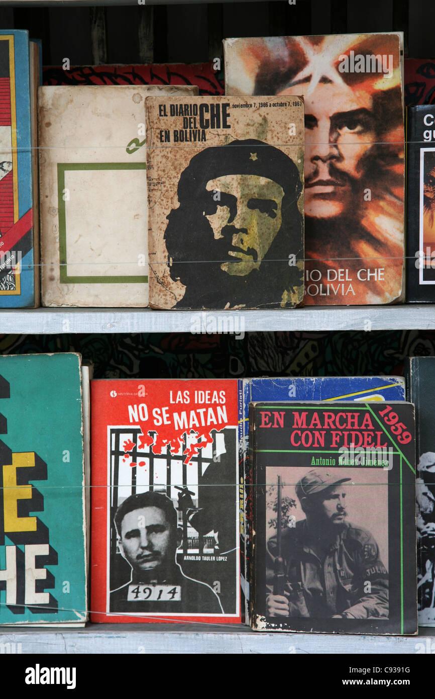 Books about Ernesto Che Guevara and Fidel Castro at the book market at Plaza de Armas in Havana, Cuba. Stock Photo
