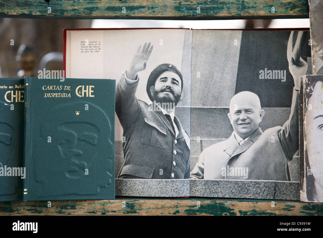 Fidel Castro and Soviet leader Nikita Khrushchev seen in a book at the book market at Plaza de Armas in Havana, - Stock Image