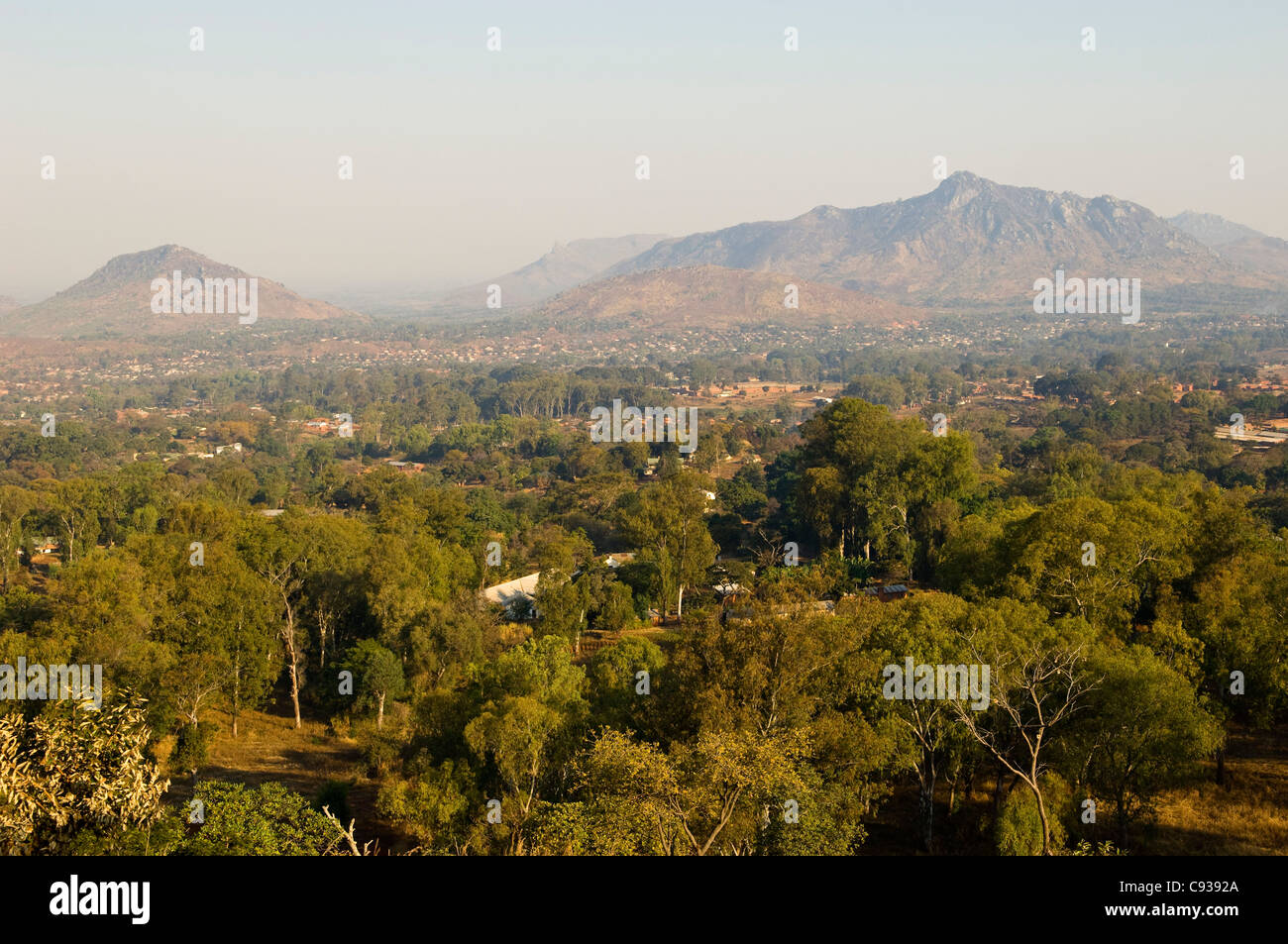 Malawi, Zomba.  View over the town of Zomba from the lower slopes of Zomba Plateau. Stock Photo