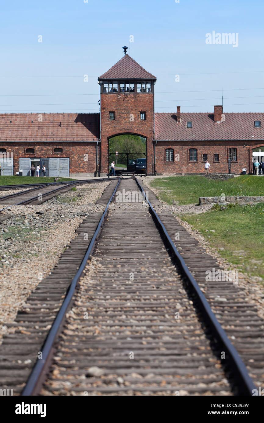 Poland, Brzezinka, Auschwitz II - Birkenau. The entrance