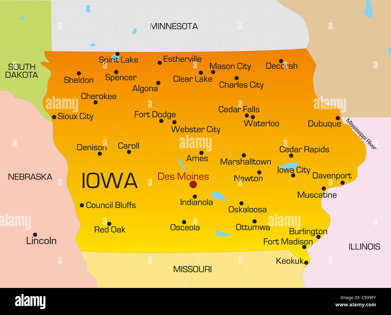 Vector Color Map Of Iowa State Usa Stock Photo 40025999 Alamy