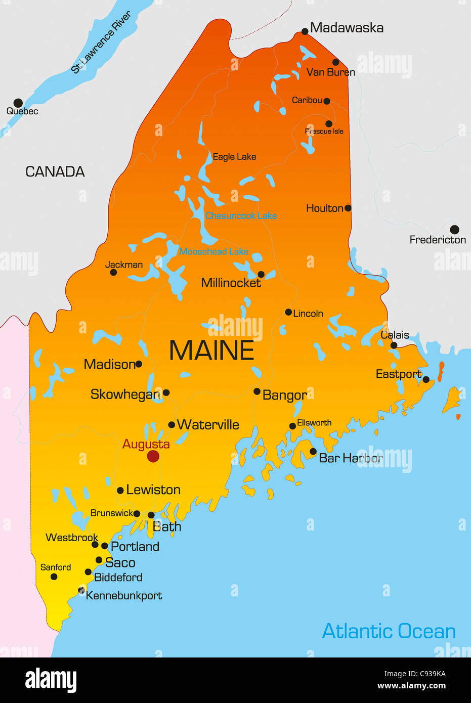 State Map Of Maine.Vector Color Map Of Maine State Usa Stock Photo 40026094 Alamy