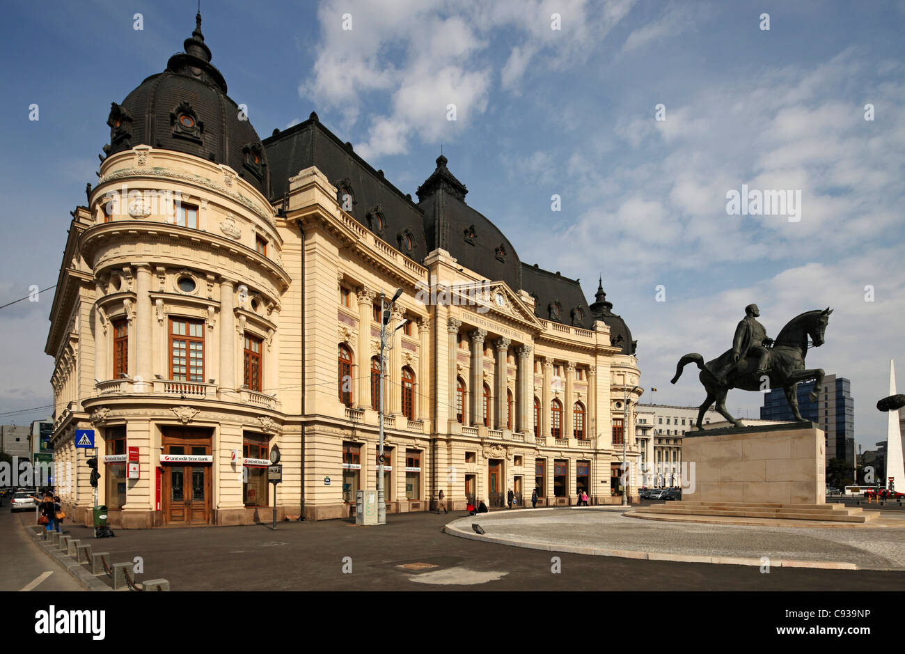 The Central University Library of Bucharest, located across the street from the National Museum of Art of Romania. - Stock Image