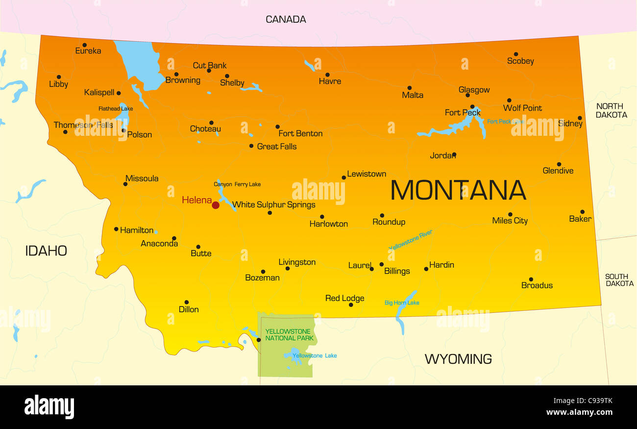 Vector color map of Montana state. Usa Stock Photo: 40026243 - Alamy