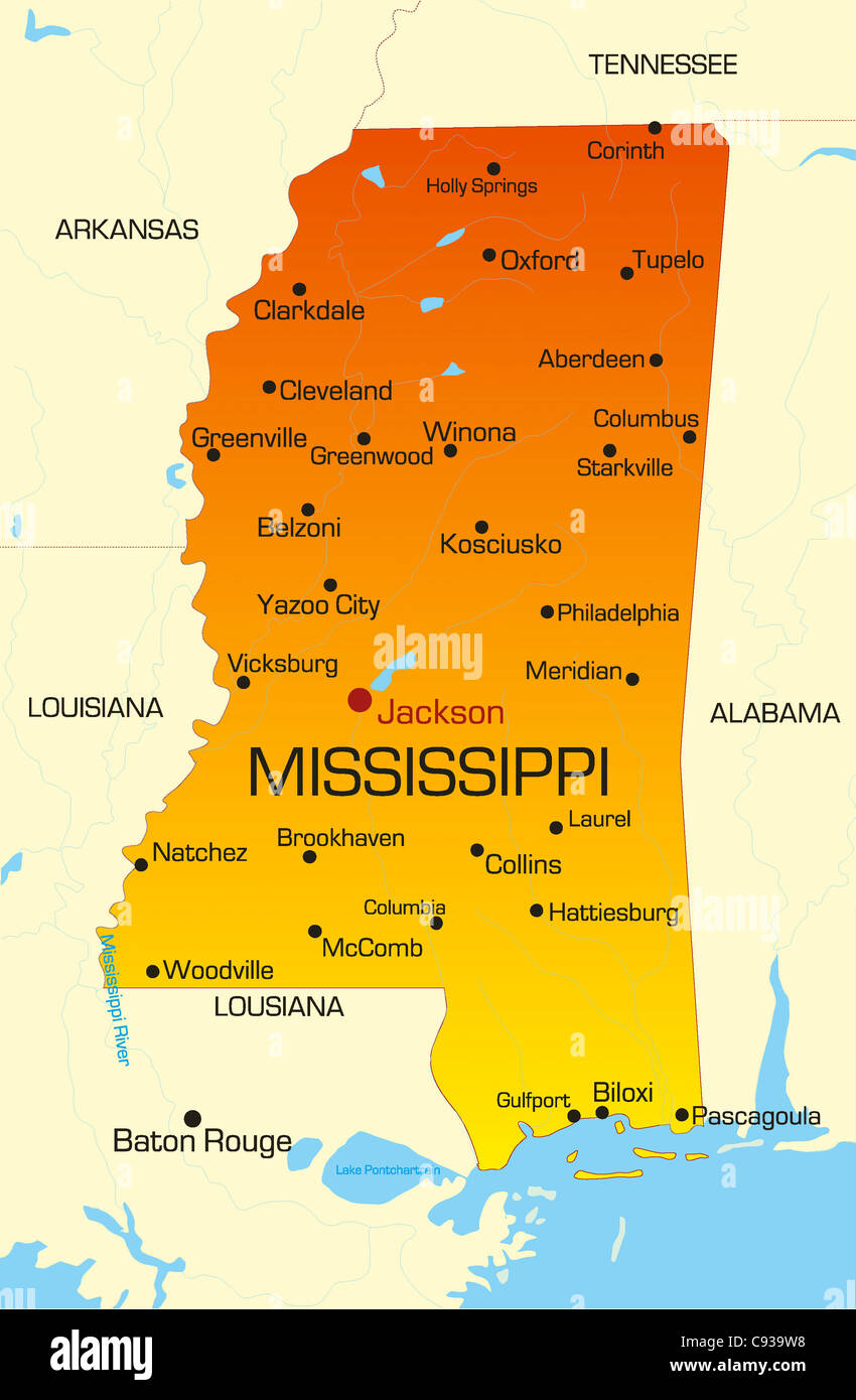 mississippi state map usa Vector Color Map Of Mississippi State Usa Stock Photo Alamy mississippi state map usa