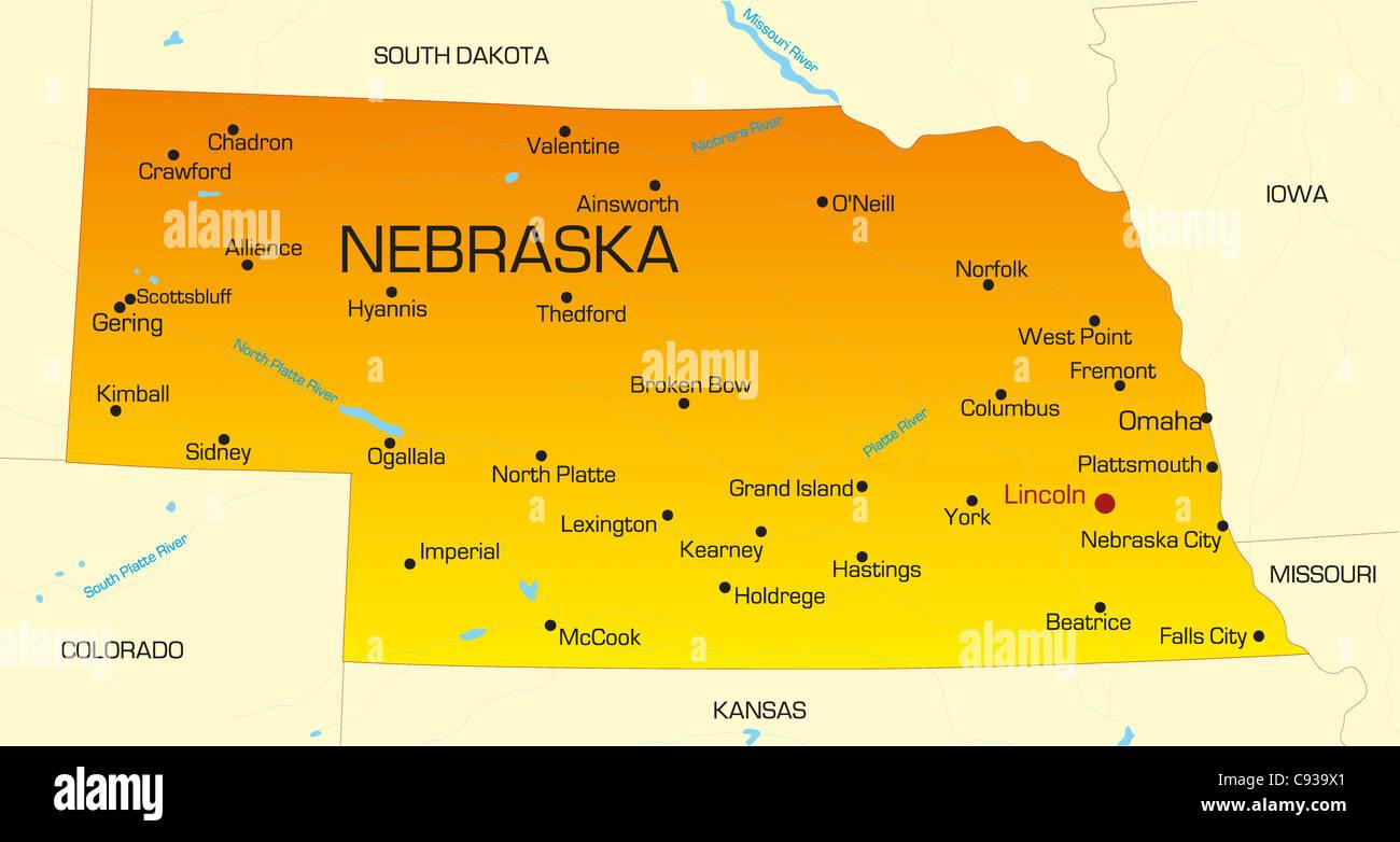 Vector color map of Nebraska state. Usa Stock Photo: 40026281 - Alamy