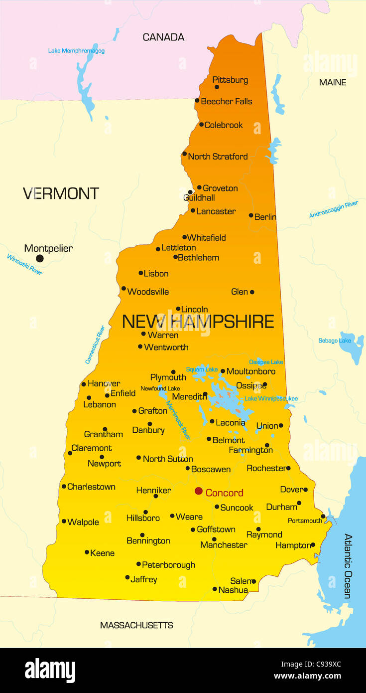 usa map new hampshire Vector Color Map Of New Hampshire State Usa Stock Photo Alamy usa map new hampshire