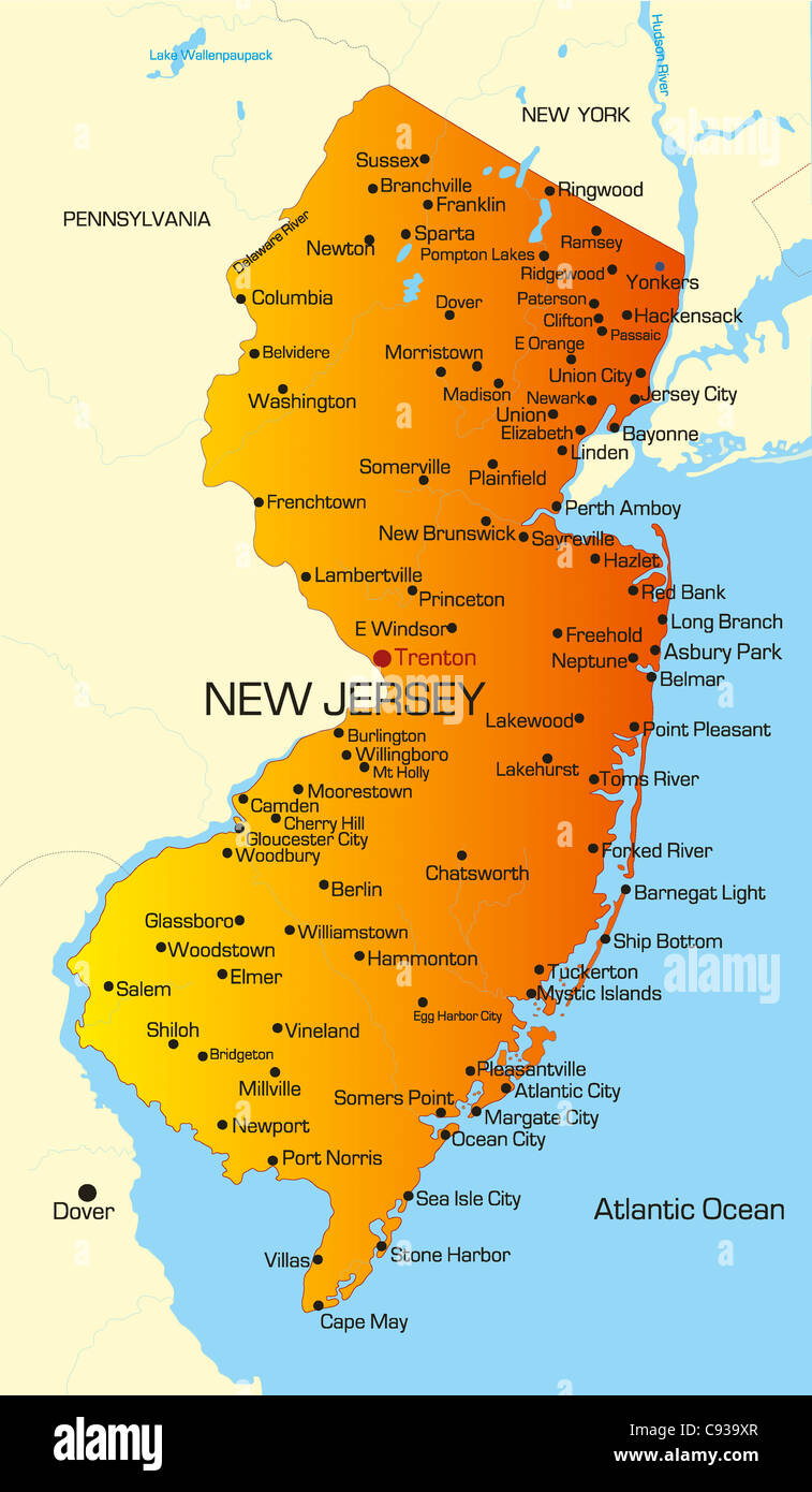 Vector color map of New Jersey state. Usa Stock Photo: 40026303 - Alamy