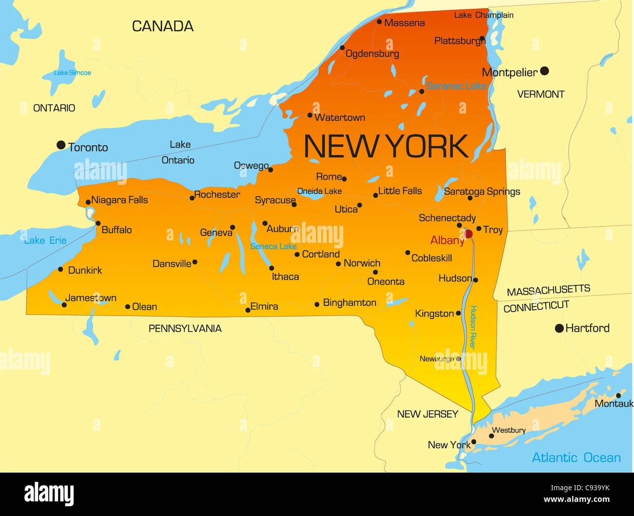 Cartina America New York.Vector Color Map Of New York State Usa Stock Photo Alamy