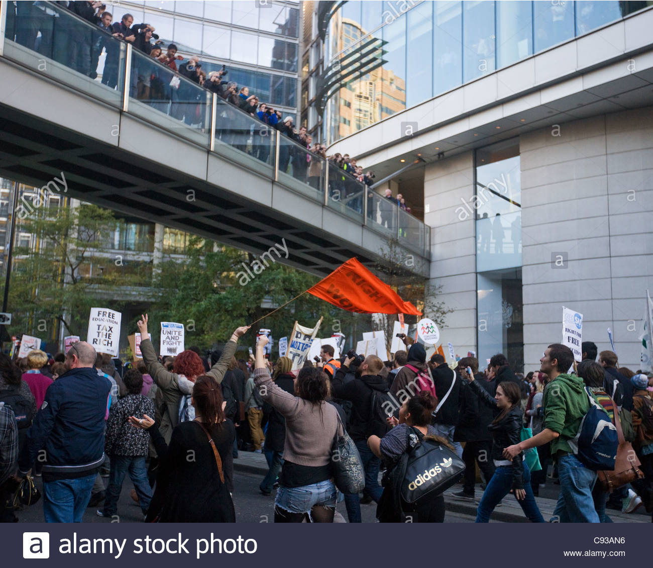 Student demonstration at London Wall by Museum of London - Stock Image