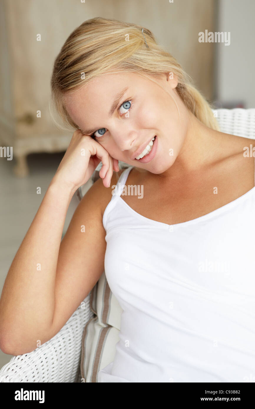 Portrait teenage girl at home - Stock Image