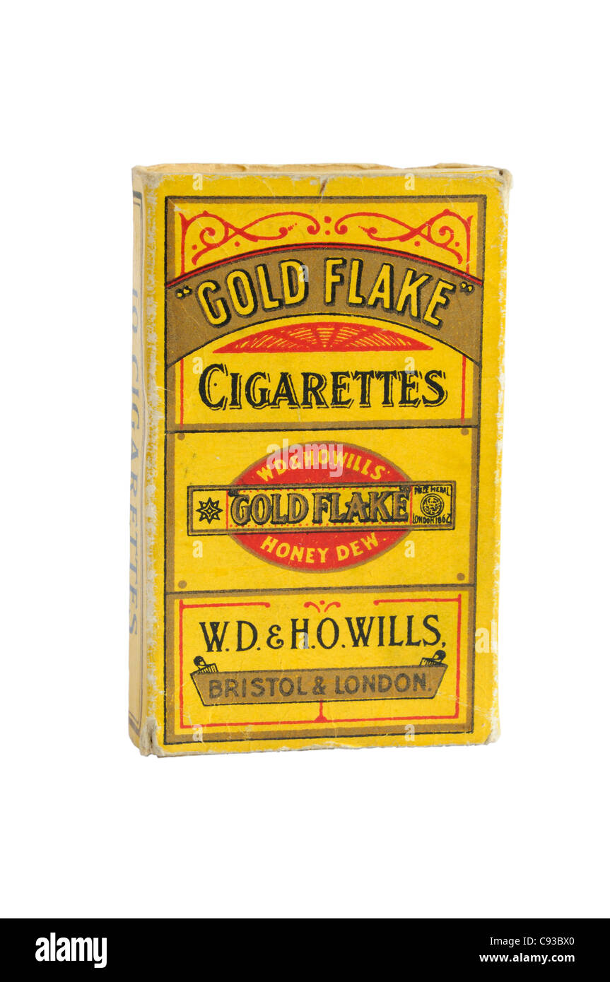 Packet of Gold Flake cigarettes - Stock Image