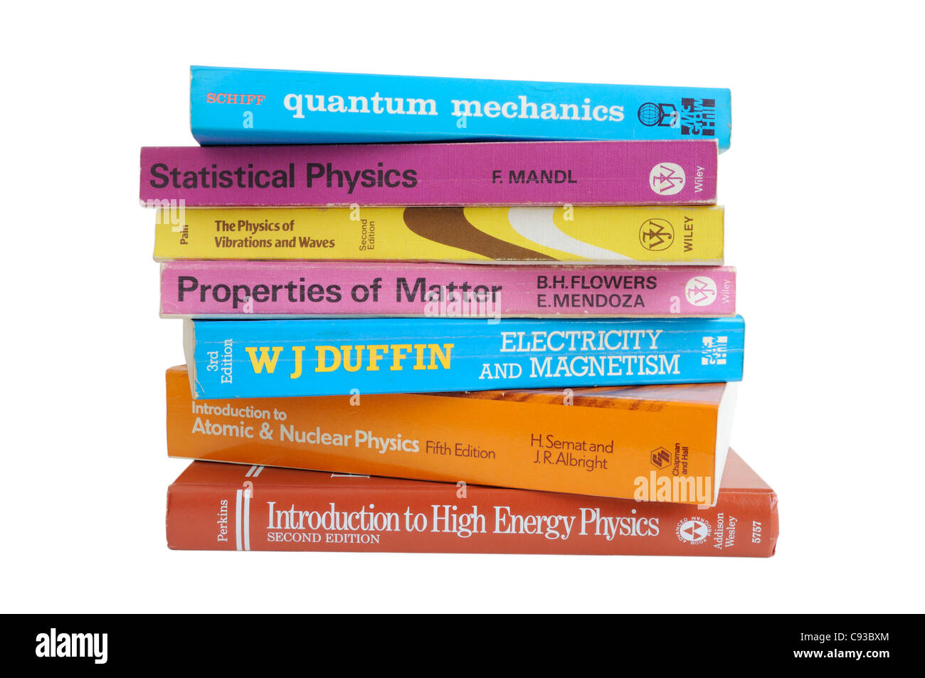 A pile of undergraduate physics text books - Stock Image