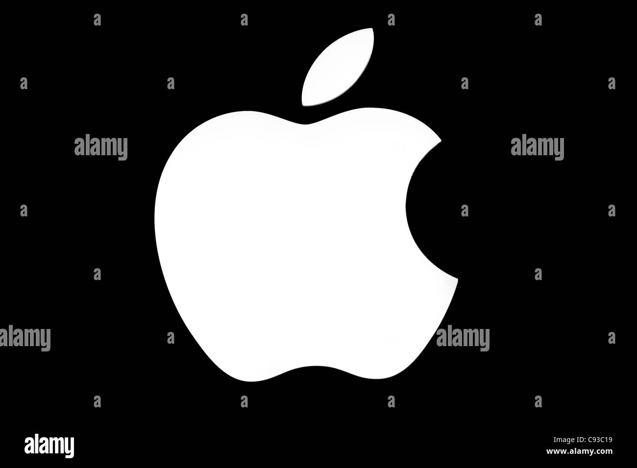The logo for Apple Mac's operating system displayed by a premium reseller in a retail shop window. Stock Photo