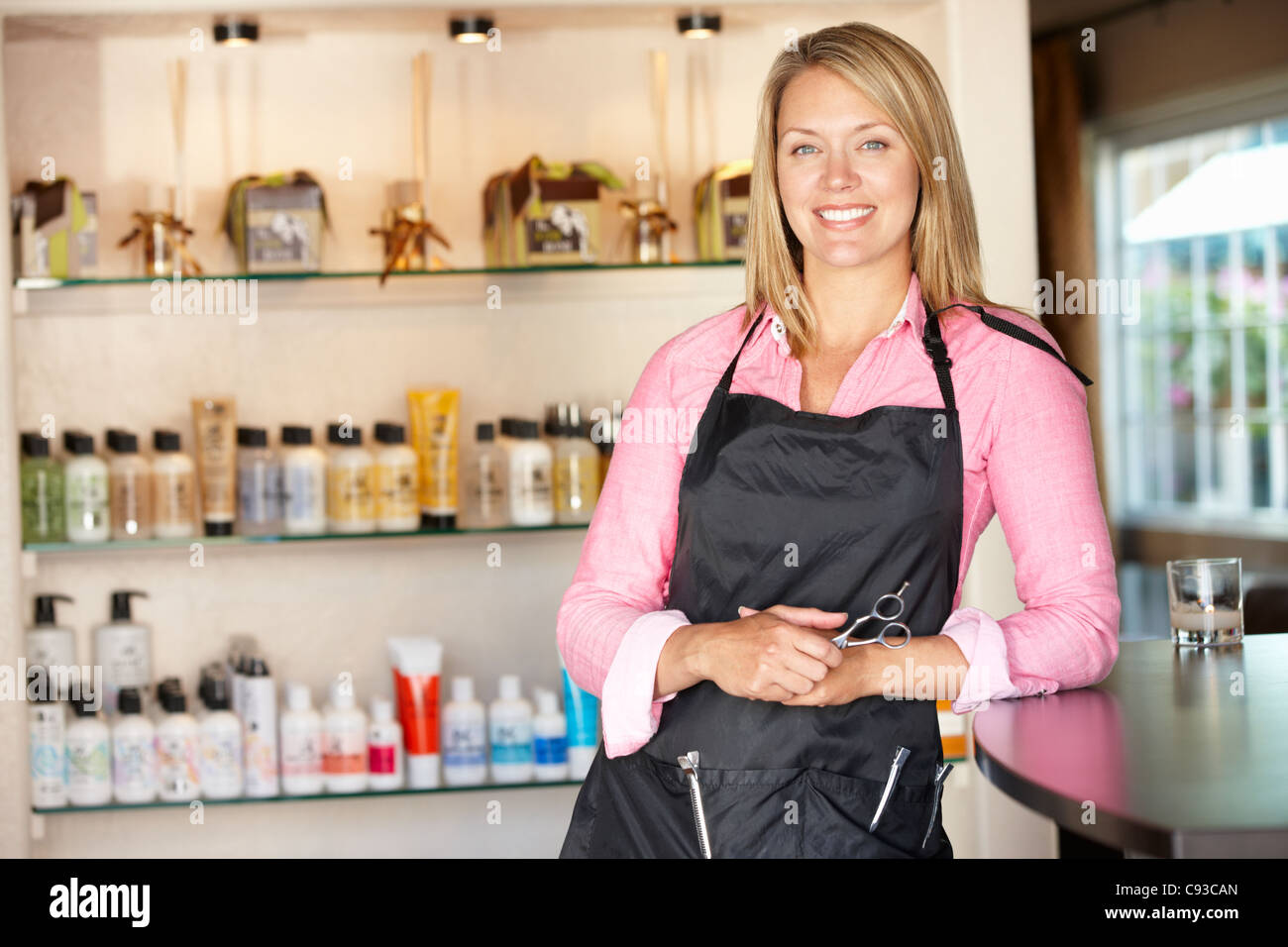 Woman working in hairdressing salon - Stock Image