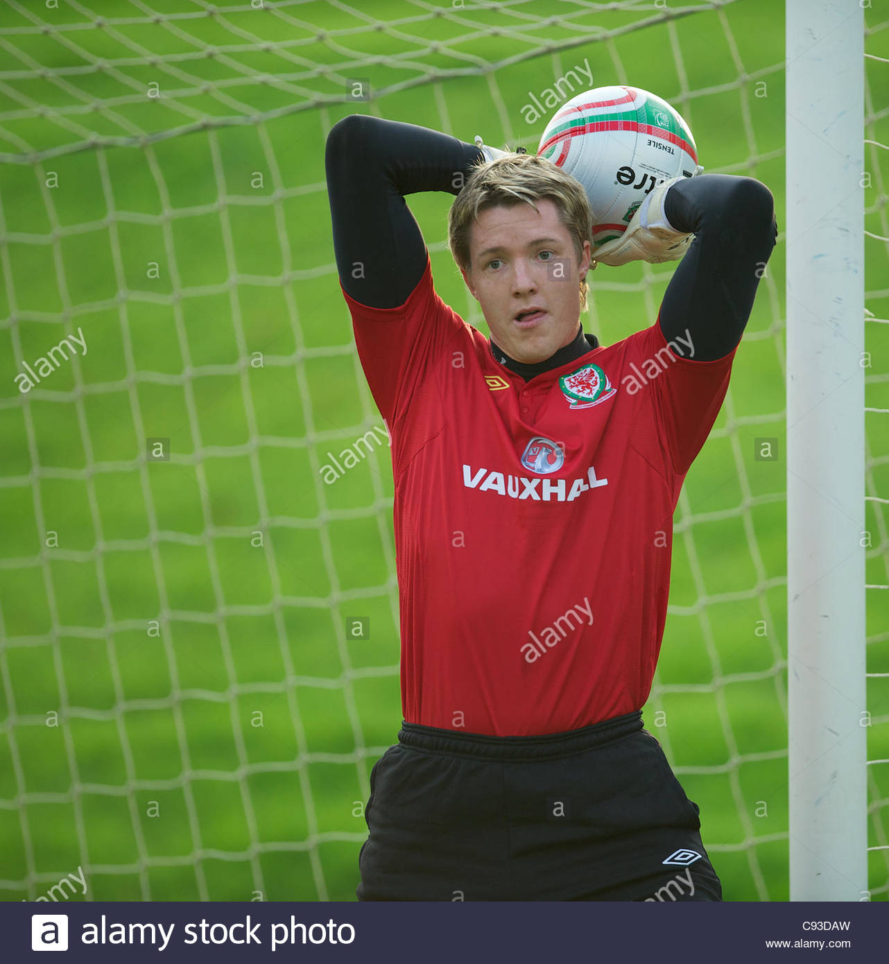 CARDIFF, WALES - Thursday, November 10, 2011: Wales' goalkeeper Wayne Hennessey during a training session at the Stock Photo