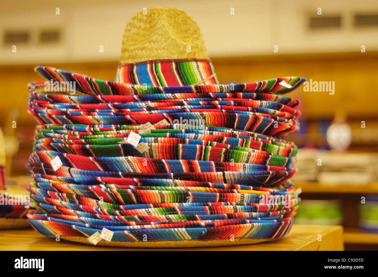 Sombreros at a souvenir shop at South of the Border, South Carolina - Stock Image
