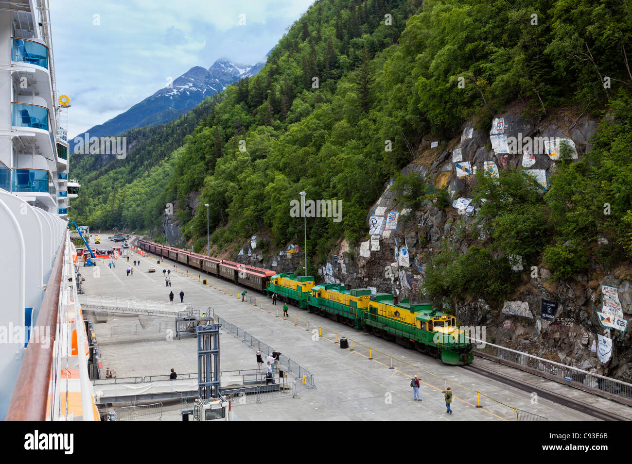 White Pass & Yukon RR meets cruise ship in Skagway, Alaska for tour to Canada. - Stock Image