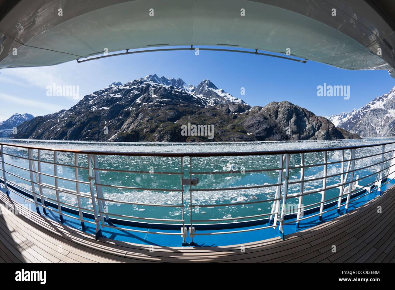 Fisheye view of empty cruise ship deck in Glacier Bay,Alaska - Stock Image