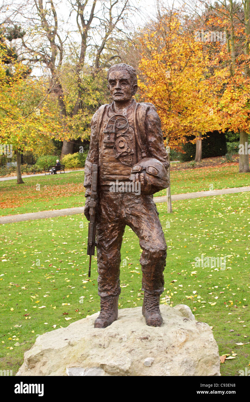 Statue Brenchley Park Maidstone Kent UK to commemorate the service of the 36 Engineer Regiment in Afganistan - Stock Image