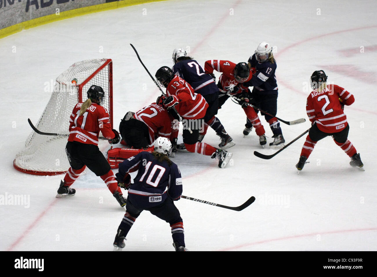 The game between USA and Canada ended 1-3 in the tournament in Nyköping, Sweden - Stock Image