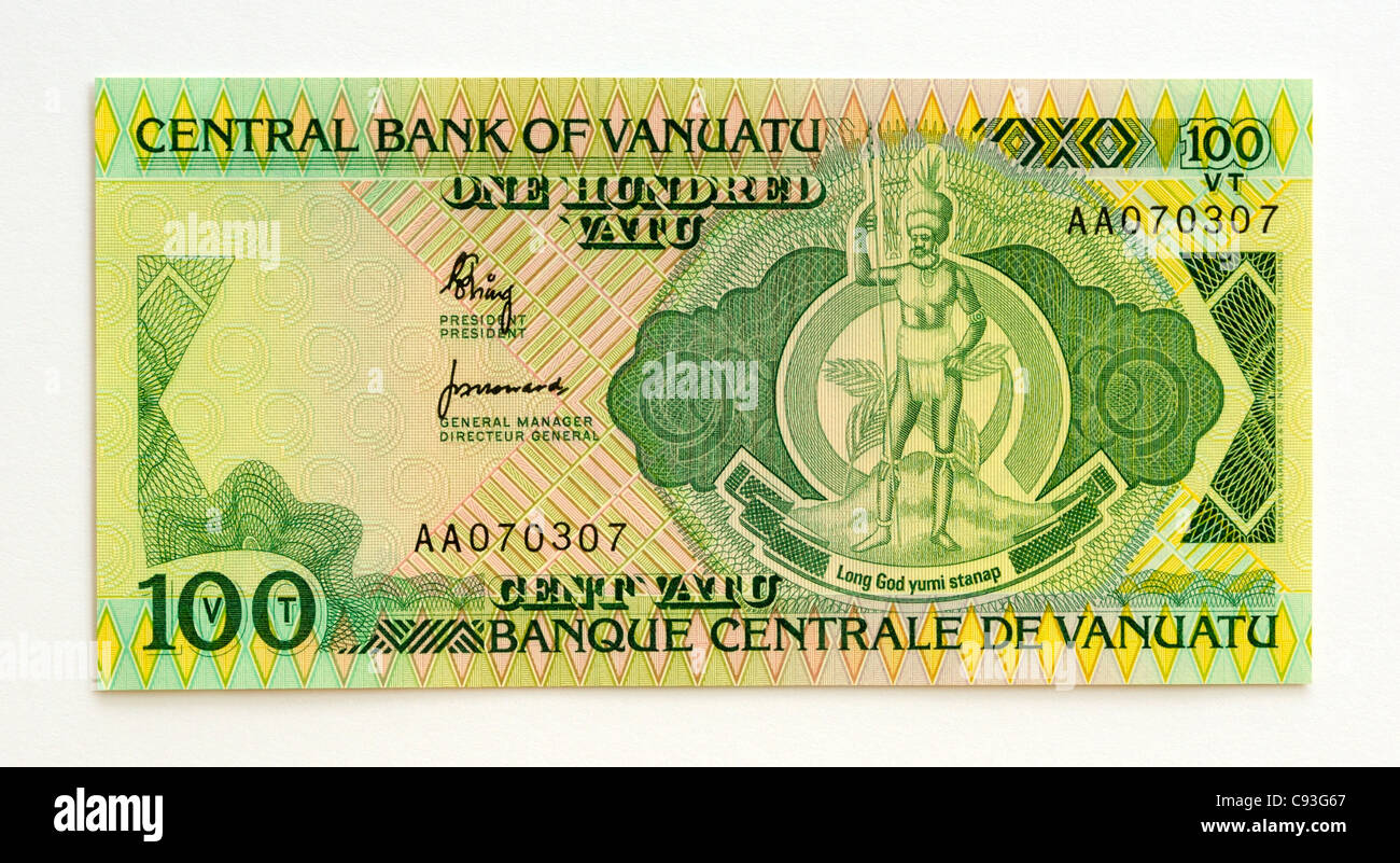 Vanuatu 100 One Hundred Vatu Bank Note. - Stock Image