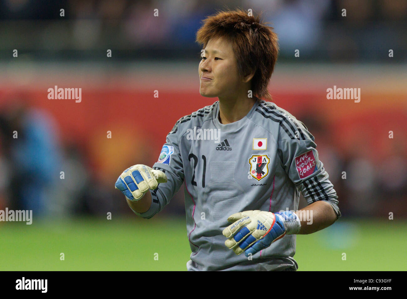 Japan goalkeeper Ayumi Kaihori reacts after the USA missed a penalty kick in the shootout at the 2011 Women's - Stock Image
