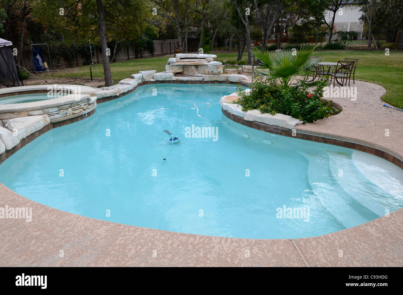Upscale Backyard Kidney Shaped Swimming Pool With Hot Tub Plants And Stock Photo Alamy