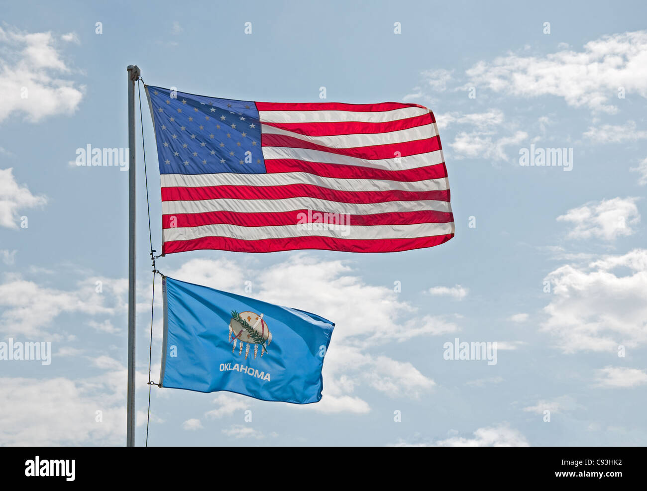 US and Oklahoma flags - Stock Image