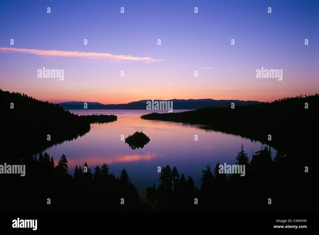 Emerald Bay at dawn; Lake Tahoe, California. Stock Photo