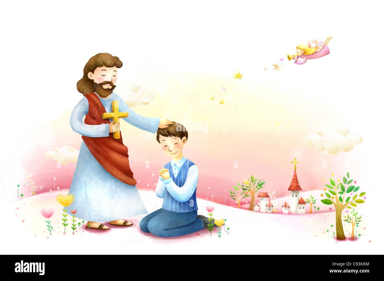 Man praying in front of Jesus Christ - Stock Image