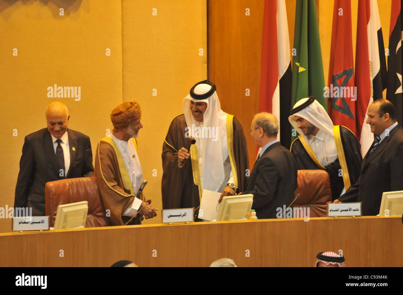 Qatari Prime Minister Foreign Minister Hamad Bin Jassim Bin Jabr Al-Thani at the Arab League in Cairo hosting Turkish Stock Photo