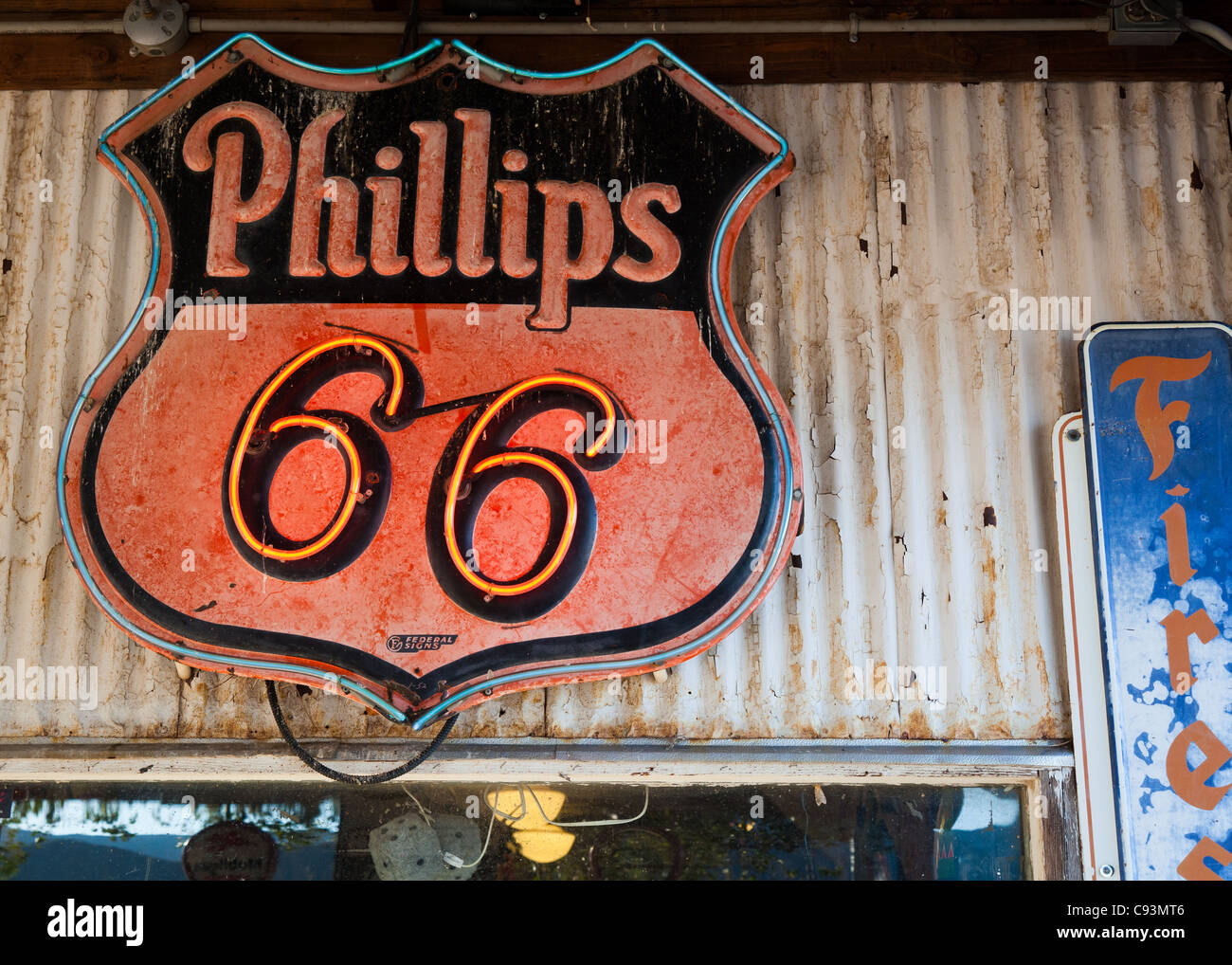 Old Phillips Route 66 neon sign outside Hackberry General Store along historic Route 66, Arizona, USA - Stock Image
