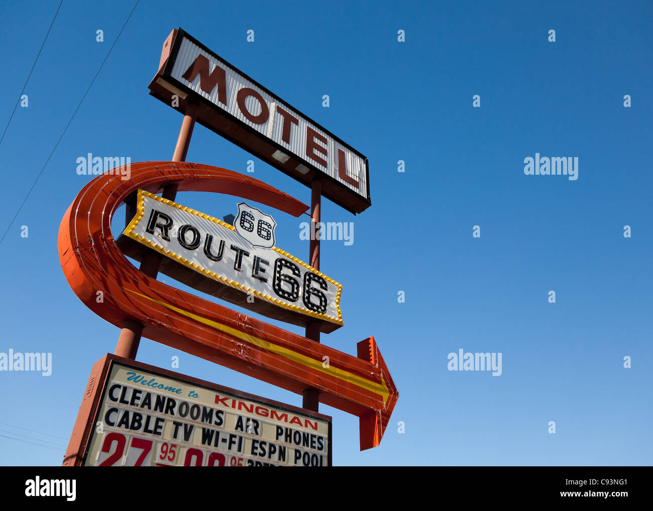 Classic motel sign along Route 66 set against a clear blue sky, Arizona, USA - Stock Image