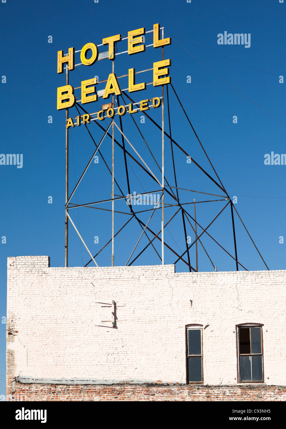The sign for the famous, now abandoned, Hotel Beale in Kingman, Arizona, USA - Stock Image