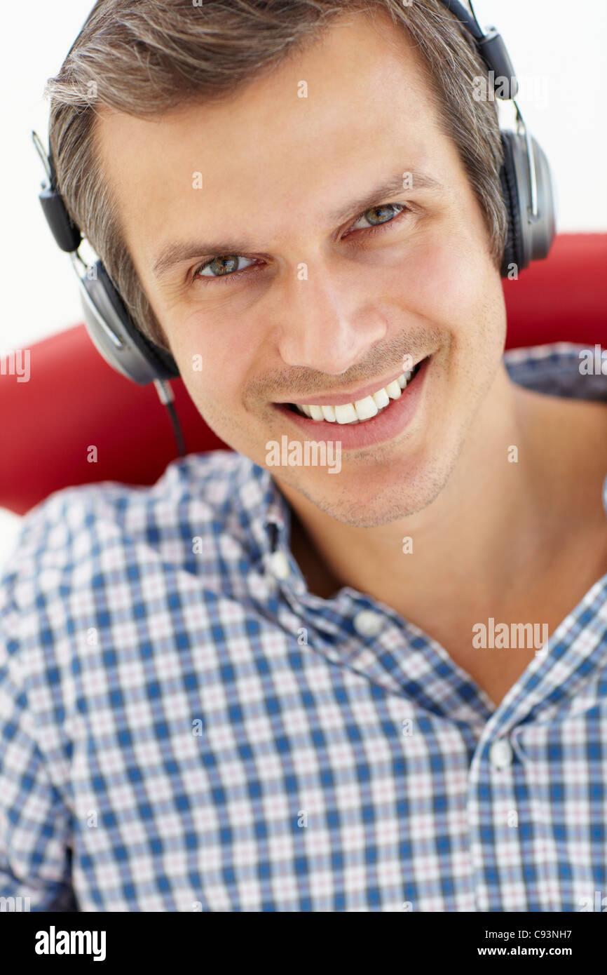 Man with headphones - Stock Image