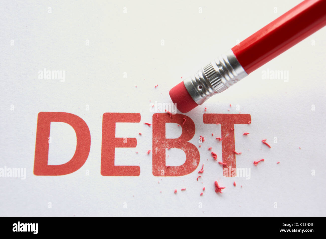Wiping out debt Stock Photo
