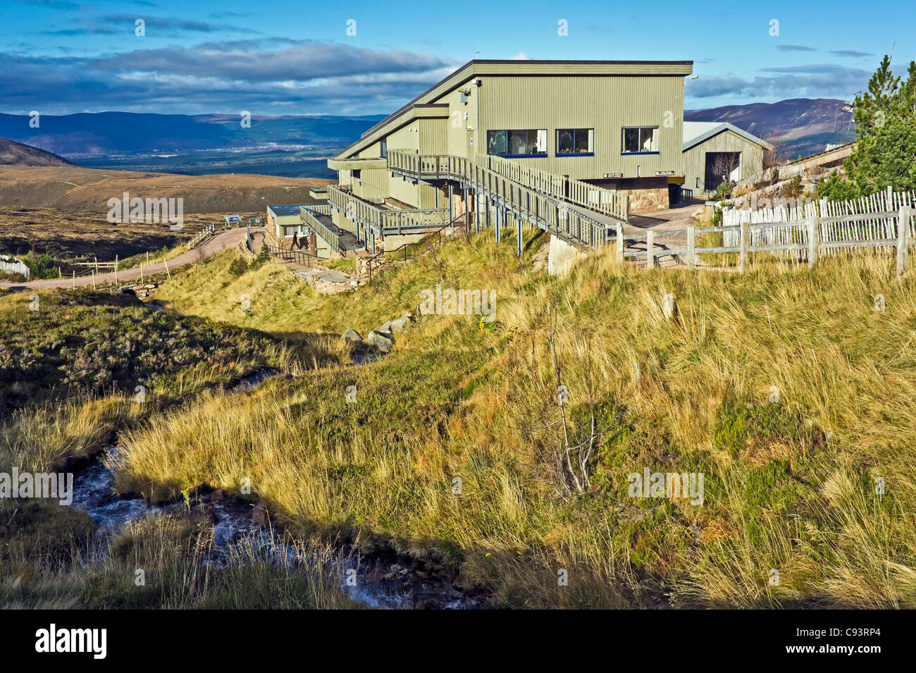 The Cairngorm Mountain funicular installation on Cairn Gorm in Cairngorm National Park Scotland - Stock Image