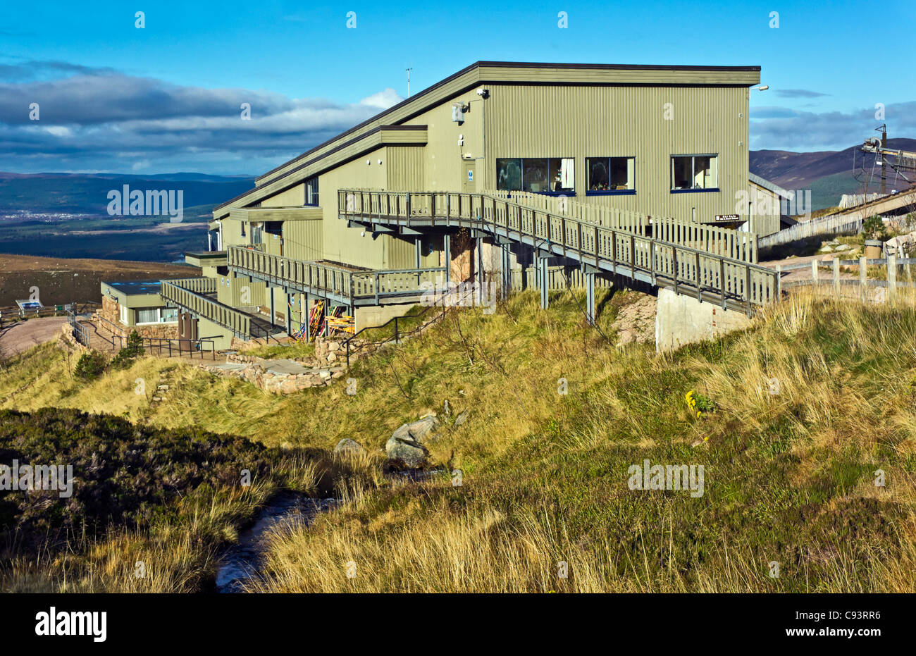 The Cairngorm Mountain lower funicular installation on Cairn Gorm in Cairngorm National Park Scotland Stock Photo