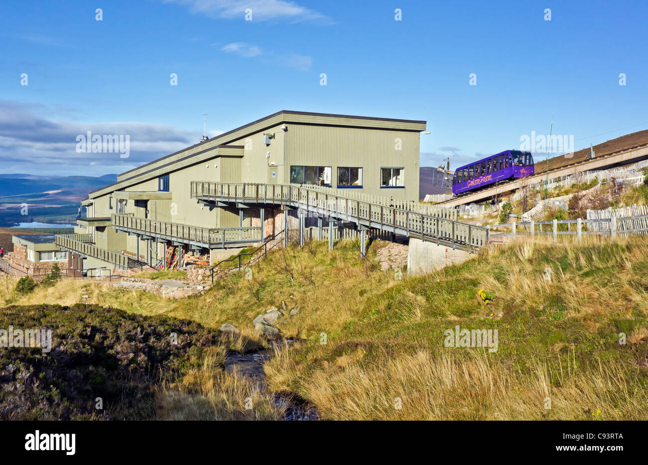 Cairngorm Mountain lower railway installation on Cairn Gorm in Cairngorms National Park Scotland with funicular car ascending Stock Photo