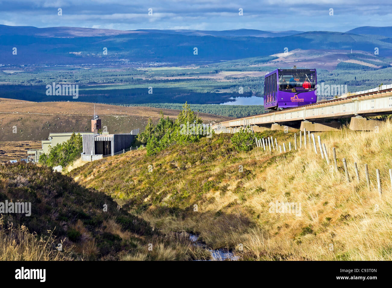 Cairngorm Mountain lower railway installation on Cairn Gorm in Cairngorm National Park Scotland with funicular car Stock Photo