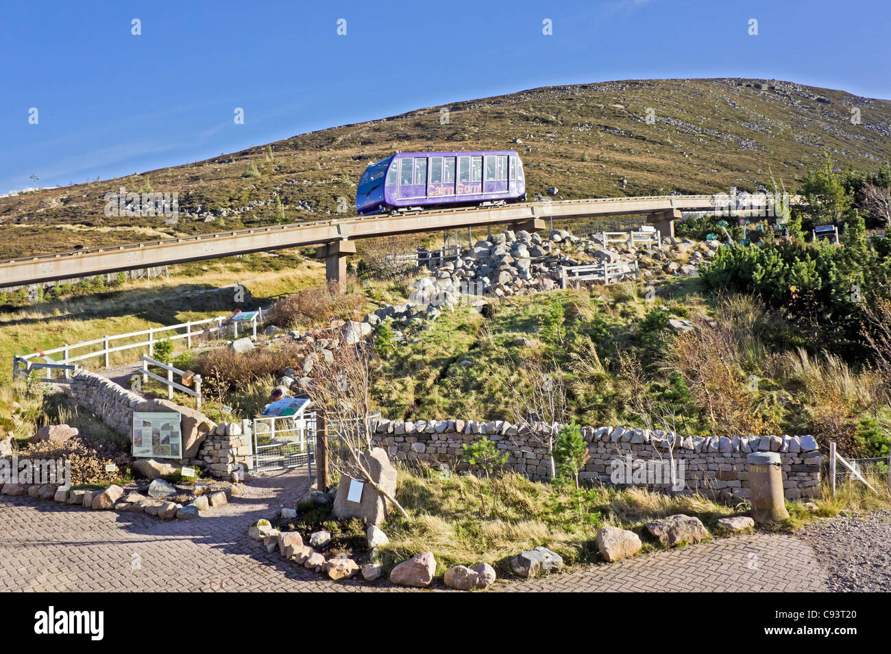 Cairngorm Mountain funicular installation on Cairn Gorm in Cairngorm National Park Scotland with funicular car descending. - Stock Image